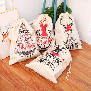 Christmas Santa Sacks 5 Styels Canvas Cotton Bags Large Organic Heavy Drawstring Gift Bags Personalized Festival Party Christmas Decoration