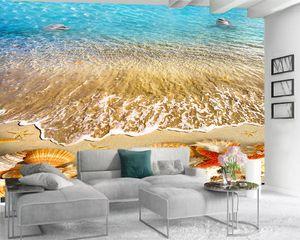 3d Modern Wallpaper 3d Wallpaper for Living Room Beautiful Sea Shell Romantic Scenery Decorative Silk 3d Mural Wallpaper