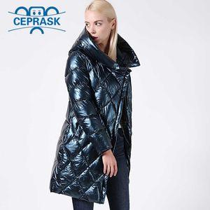 2020 Jacket New Inverno Mulheres Glitter Plus Size Casaco de Inverno com capuz Grosso Biological-Down Jacket de longa encapuçado Mulheres Parka Ceprask