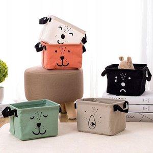 Almacenamiento de algodón de lino cesta plegable de dibujos animados de escritorio de almacenamiento de gran capacidad Durable cestas misceláneas Libros de almacenamiento DHE1375
