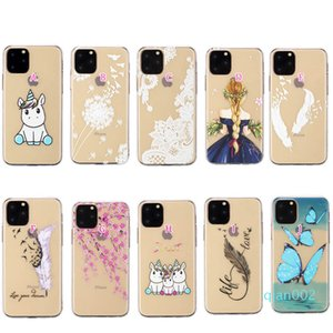 Embossed Lace macio TPU Case para Iphone 11 2019 Samsung Nota 10 Pro Feather Transparente Henna Branco Floral Paisley Flower Mandala Gel Cover