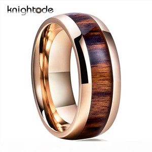 Rose Gold Tungsten Wedding Band Ring 8mm For Men Women Engagement Band Ring Koa Wood Inlay Dome Band High Polishing Comfort Fit