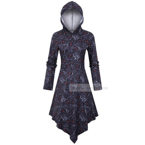 Halloween Women Dresses Gothic Witch Scary Cosplay Costume Party Ghost Long sleeve Hooded Dress Witch Skull Print Dress