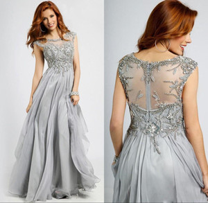 Silver Grey Mother Of The Bride Dress Scoop Neck Beading Chiffon Lace Plus Size Bridal Guest Evening Dress robes de soiree
