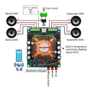 Freeshipping Bluetooth 5.0 Power Amplifier Áudio Conselho 4x50W TDA7850 Classe AB HiFi Stereo Amplificador Home Theater BTL Speaker Mini Amp