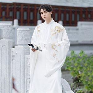Song-made Hanfu Männer chinesischen Stil Schwerindustrie Song Youchun Rundhals Kleid Youchun Stickerei Weiß Super Fee scholar Song gemachte Runde