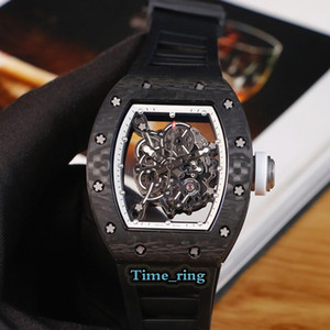 versione top RM-055 scheletro quadrante in fibra di carbonio NTPT caso del Giappone Miyota Movimento automatico RM-055 Mens Watch Black Rubber Strap orologi di marca