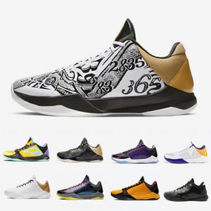 Kobe Bryant En Yeni Büyük Sahne Bruce Lee Kaos 5 Proto Erkek Üçlü Siyah Basketbol ayakkabıları Metalik Altın LA 5s Prelude erkek eğitmenler spor ayakkabı 7-12