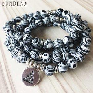 Les hommes multi-wrap pierre modèle Zebra perles bracelet malachite bouddhiste 108 Mala Bouddha Bracelet Lotus Yoga OM charme