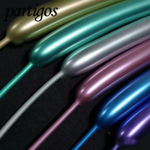 Partigos 100шт / много металлической полосы длиной латексные шары декора Шнуровка Крутящий шар День рождения Свадьба