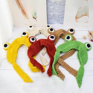 Frog Hat Beanies Knitted Winter Hat Solid Hip-hop Skullies Knitted Cap Costume Accessory Gifts Warm Winter Lovely Christmas