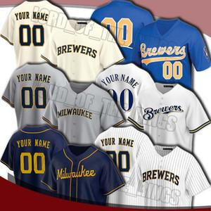 Custom Brewer 22 Christian Yelich Jersey Robin Yersey Yerseys Ryan Braun Jersey Lorenzo Smoak Brandon Woodruff 2020 Бейсбол