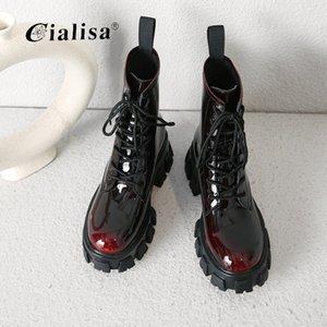 CIALISA 땅딸막 한 발 뒤꿈치 레이스 업 패션 여성 발목 부츠 레트로 정품 가죽 패치 워크 라운드 발가락 발목 부츠 신발