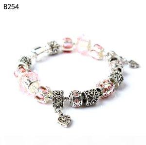 F Snowflake Butterfly Tibetan Silver Glass Beads Charm Bracelet ,Fashion Women &#039 ;S Diy European Beads Bracelet 6 Pieces A Lot Mixe a07