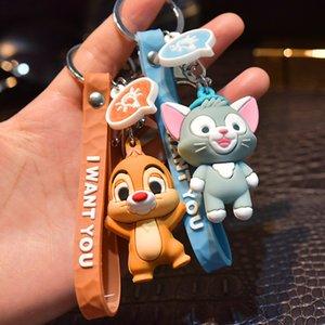 Cartoon Bear Cat Doll Keychain femmes tranches caoutchouc pour Longe Porte-clés Ours mignon des animaux Cat Porte-clé Sac Charms bijoux cadeau