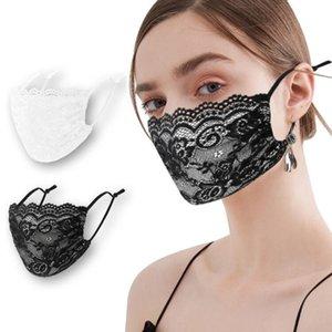 Stampa maschere anti-polvere estate balck coreano e pizzo bianco maschera di stoffa sottile maschere antipolvere lavabile maschera Designer T2I51544
