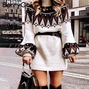 BerryGo 기하학적 프린트 니트 여성 드레스 캐주얼 여성은 목 풀오버 스웨터 드레스 가을 겨울 흰색 vestidos 200922 거북이