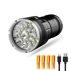 Led 10000 Lumens,12xCREE XM-L T6 LED 4 Modes Super Bright Tactical , Waterproof Handheld Light with Power D