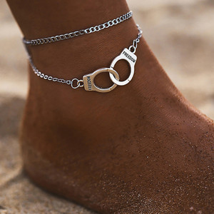 Özgürlük Kelepçe halhal zincir Gümüş Altın zincirleri Çok Katmanlı Wrap Ayak Zinciri kadın yaz plaj Charm Bilezikler takı halhal