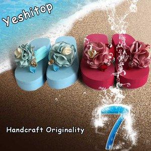 2020 EUR 35-41 Yeshitop Işçiliğinin Orijinal Dantel takozları Terlikler Kadınlar Sandalet Kadın Platform Ayakkabı Kaymaz Lady Slipper