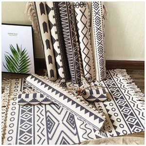 Nordic Cotton Tassel Home Weave Carpets Welcome Foot Pad Living Room Bedroom Study Room Floor Rugs Prayer Mattress