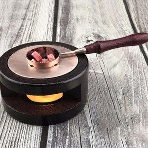 Nouveaux produits Hot Retro Seal timbre cire bâton Stove Vintage cire à cacheter Melting Pot Holder poignées en bois massif rouge cuivre cuillère
