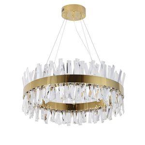 الحديث مستطيل LED كريستال الثريا للعيش كريستال الثريات غرفة الإضاءة الذهب / الكروم المصقول المقاوم للصدأ تصميم شنقا مصباح