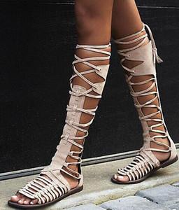 Yeni Yaz Kadın Düz Gladyatör Diz Yüksek Boots Süet Deri Yüksek Kaliteli Sandal Çizme Lace Up Seksi Yaz Bohemia Bayanlar Boots