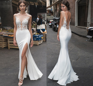 Plus Size Mermaid Wedding Dress Sexy Side Slit Summer Wedding Gowns Chiffon Simple Bride Dress Boho Wedding Dress Vestido Noiva