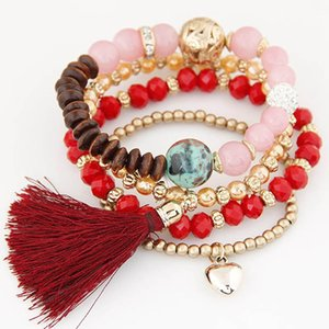 Bohemian Multilayer Colorul Natural Stone Wood Beads Bracelet Heart Charms Pendant Tassel Elastic Bracelets Bangles for Women