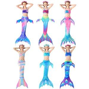 Girls Swimming Mermaid tail With Monofin Flipper Mermaid Costume Cosplay Swimwear Tails Swimsuit 3Pcs Bikini Sets No Monofin