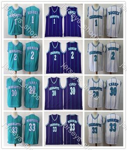 CarlottaHornetsJersey 1 Muggsy Bogues 2 Larry Johnson 30 Dell Curry 33 Alonzo Mourning Mitchell Ness Basketball Maglie