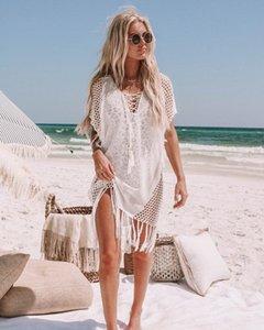 Трикотажная кисточка полой бикини открытого купальник блузка праздник горячий Swimsuit халат халат весной солнцезащитный крем пляж пальто