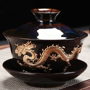 Dragon Silver Inlaid Tea Tureen Hand Made Household Tea Drinkware Bowl Kiln Change With Gold Dragon Gaiwan