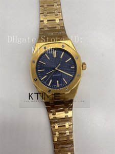 Top Sapphire Mens Watch Mechanical A2813 Automatic Movement 41MM Blue Texture Dial ROYAL OAK 15400 Gold Stainless Steel Wristwatches