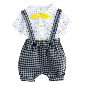 Clearance Excelent NEWEST lovely baby girls Toddler Kids Baby Girl Boys Dot Bow Tops Plaid Overall Shorts Pants Outfits Set Z0213