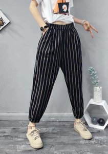 Women's Harem Pants Washed Cotton Linen Pant Women's Summer Thin Printed Loose Large Size Linen Eight-point Casual Carrot Pants --