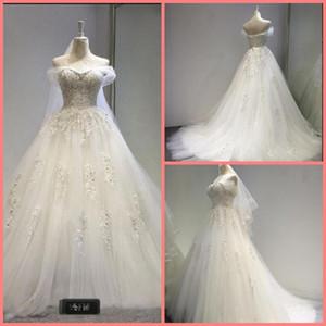 Robe де Mariage 2020 бальное платье свадебное платье кружева аппликация бисером жемчуг принцессы опухшее длинные свадебные платья реальная картина длинные свадебные платья