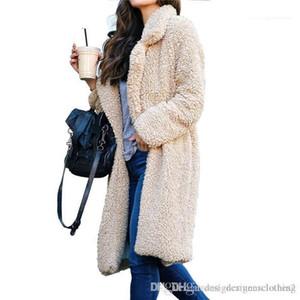 Wool Coats Casual Solid Color women Outerwear Winter Plush Lapel Neck Women Long Coats Fashion Cardigan