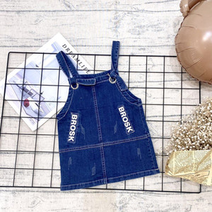 2020 Baby girl sling dress solid color denim one-piece dress with letter hole decoration cute little princess overalls