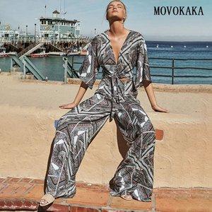 مجموعات MOVOKAKA الصيف المرأة خمر رياضية للنساء بالاضافة الى حجم امرأة رياضية الأزهار اثنين من قطعة مجموعة النساء الزي القوس مجموعة 2 قطعة