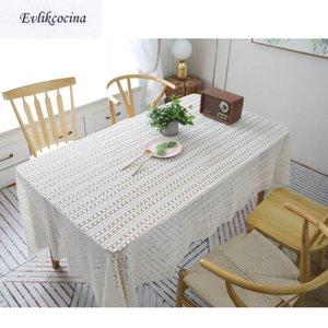 Ücretsiz Kargo Retro Süt Beyaz tığ işi Tablecloth Ev / Otel Masa Kapak Mantel De Mesa Fonksiyonlu Bezi Nap Kapalı