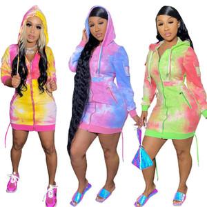 Women hooded Mini dresses Tie dye Hoodie Dresses S-2xl long sleeve skirt fashion sexy slim Robe Casual Summer Fall clothing DHL 3736