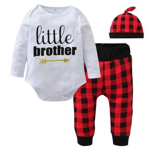 New 2020 Autumn Baby Boys Clothing Set Long Sleeve Letter Little Brother Romper+Red lattice Pants+Hat Newborn Toddler Clothes