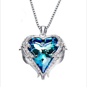 Heart Crystal Pendant, Auniquestyle Angel Wing Necklaces for Women Love Heart Pendant Necklace Gifts for Women Girls Fashion Jewelry