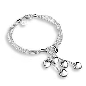 Браслет Кулон Браслет 925 Посеребренной шарма сердца мужчины и женщины Pandora Змея цепь DIY бисер браслет 5 Любовь