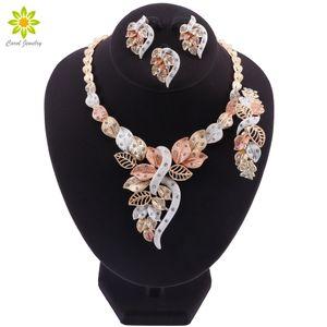 Mode Afrikanische Perlen Halsketten-Ohrringe Nigerianerin Hochzeit Schmuck-Set Marke Dubai Gold-bunte Schmucksets CX200811
