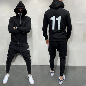 20FW Мужские костюмы Street Style Черного цвета с длинным рукавом с капюшоном Кардиган шаровары Установить Повседневные мужчина Спортивными