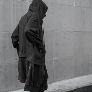 Men autumn winter black multi zippers patchwork long jackets hooded cloak man street punk hip hop coat cardiagn