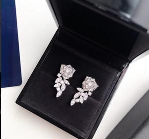 Kadın Takı Gül Küpe Yüksek Kalite S925 Gümüş Çiçek Saplama Küpe Kadınlar Için Aşk Hediye Ücretsiz Kargo